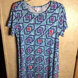 LuLaRoe Carly Dress Size 10-12 Geometric Pattern